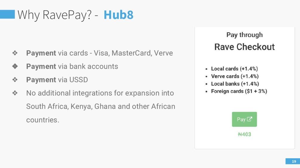 Why RavePay? - Hub8 19 ❖ Payment via cards - Vi...