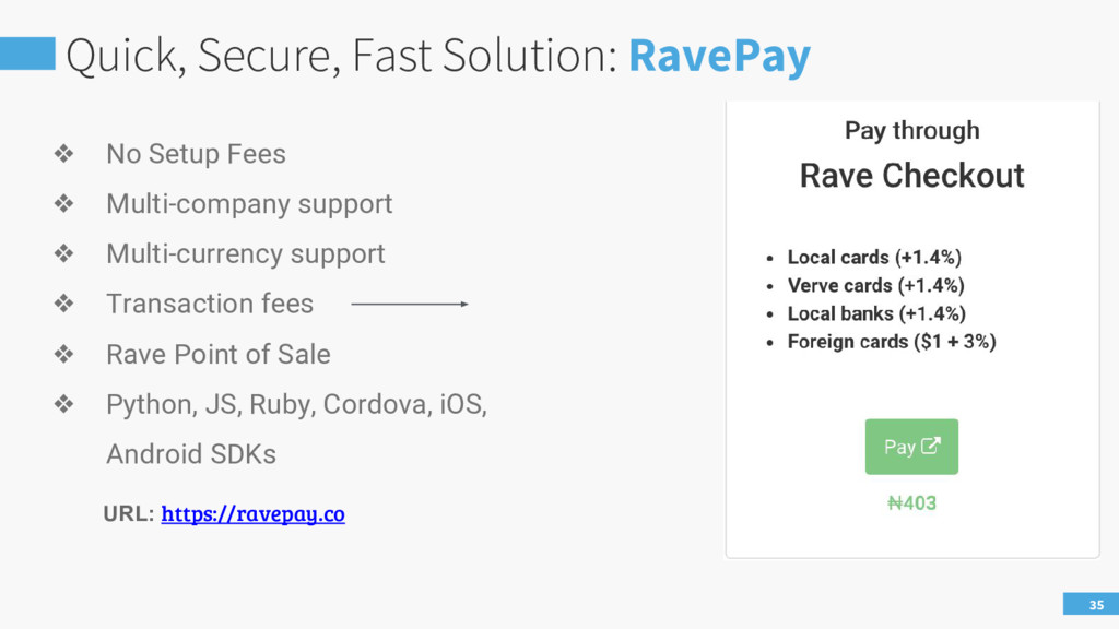 Quick, Secure, Fast Solution: RavePay 35 ❖ No S...