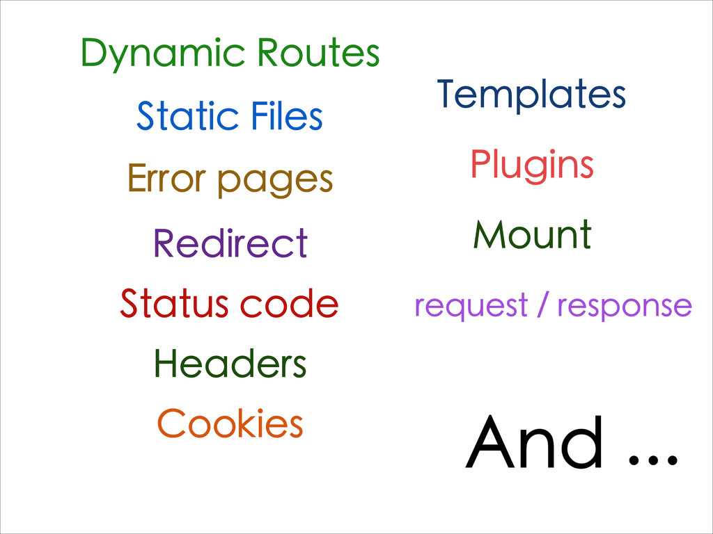 Dynamic Routes Static Files Error pages Redirec...