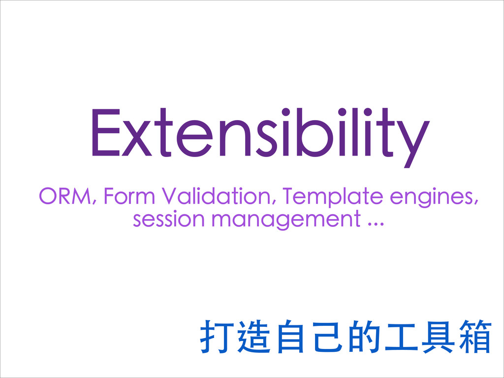 Extensibility ORM, Form Validation, Template en...