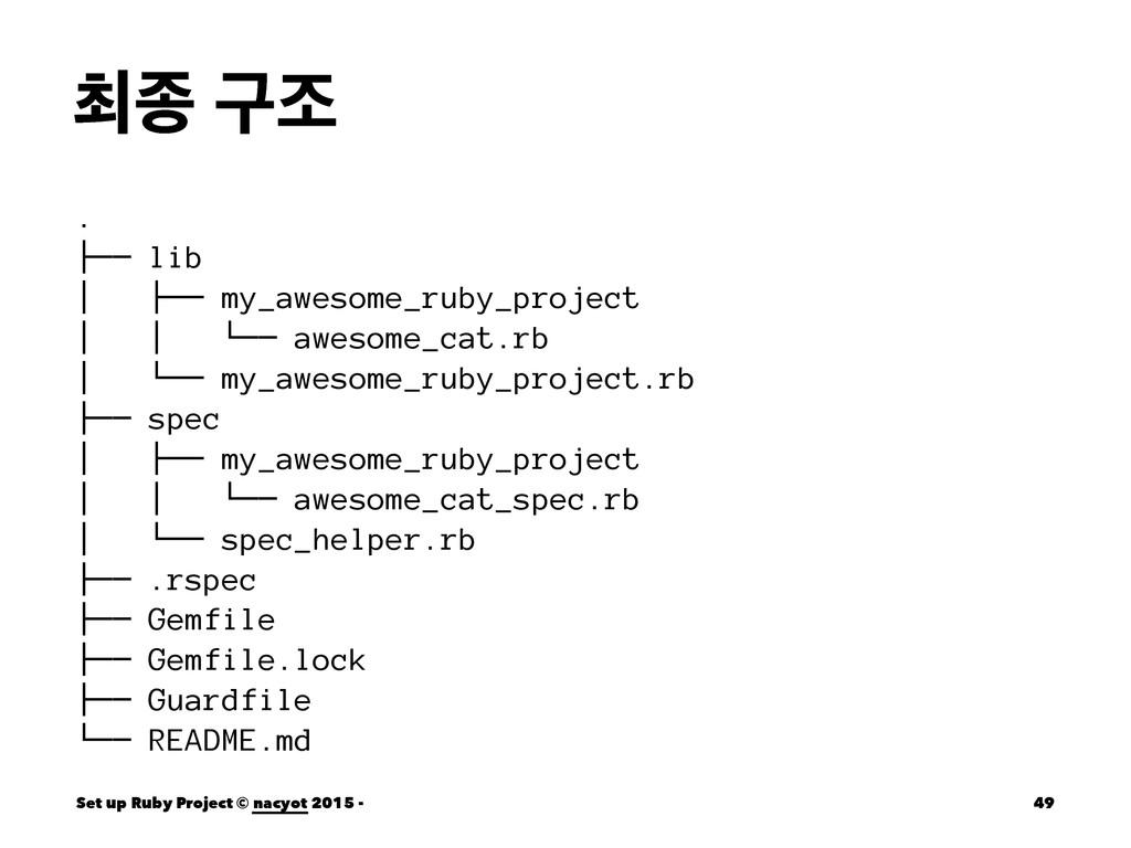 ୭ઙ ҳઑ . ├── lib │ ├── my_awesome_ruby_project │...