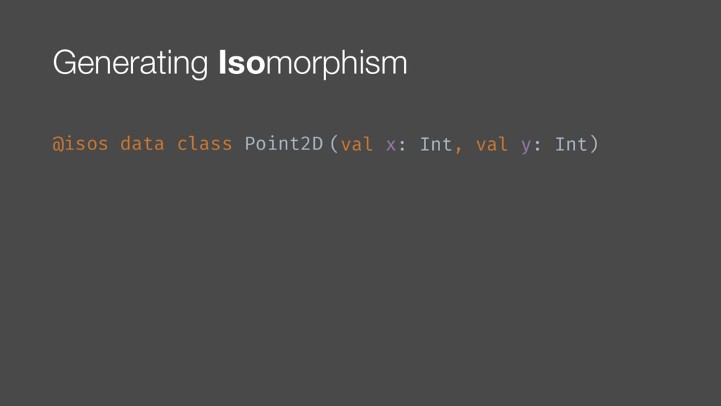 Generating Isomorphism @isos data class Point2D...