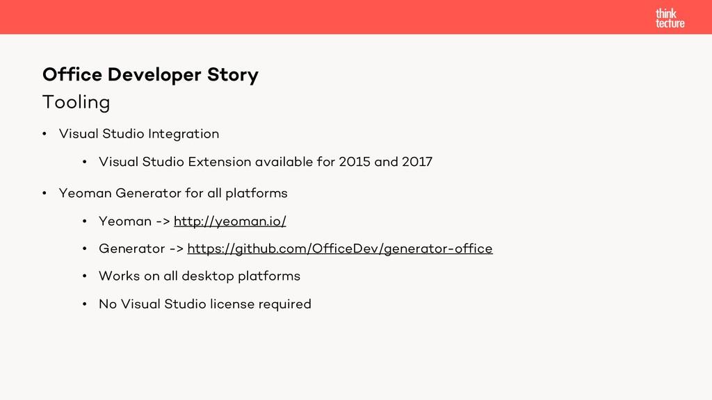Tooling • Visual Studio Integration • Visual St...