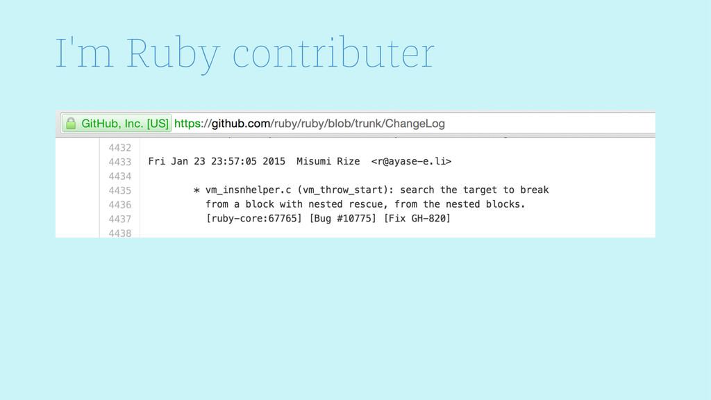I'm Ruby contributer