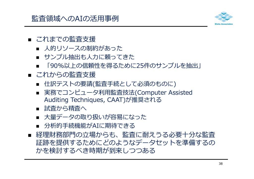 監査領域へのAIの活⽤事例  これまでの監査⽀援  ⼈的リソースの制約があった  サンプ...