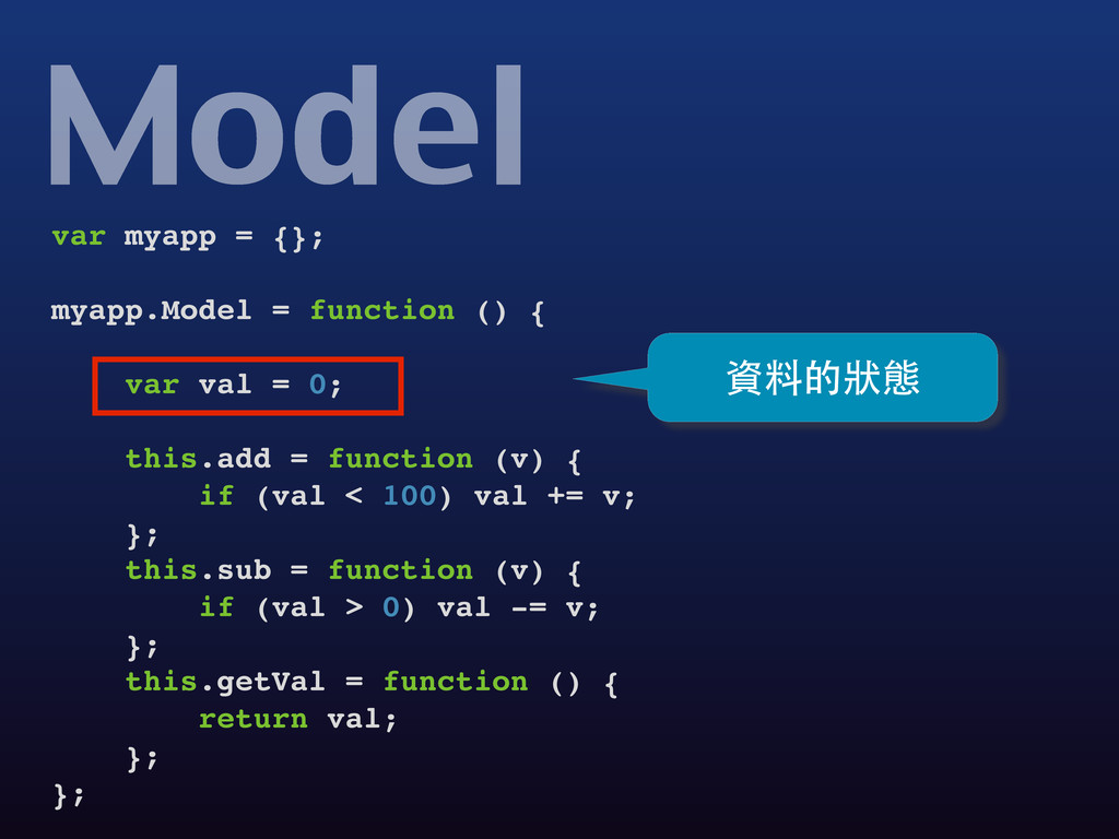 var myapp = {}; myapp.Model = function () { var...