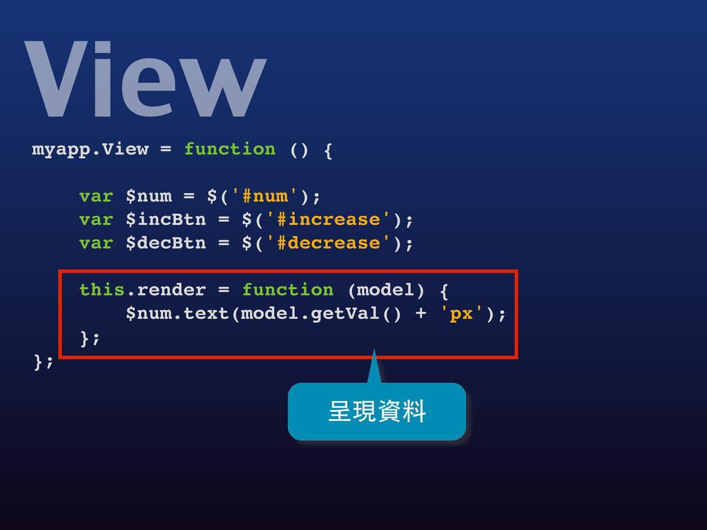 View myapp.View = function () { var $num = $('#...