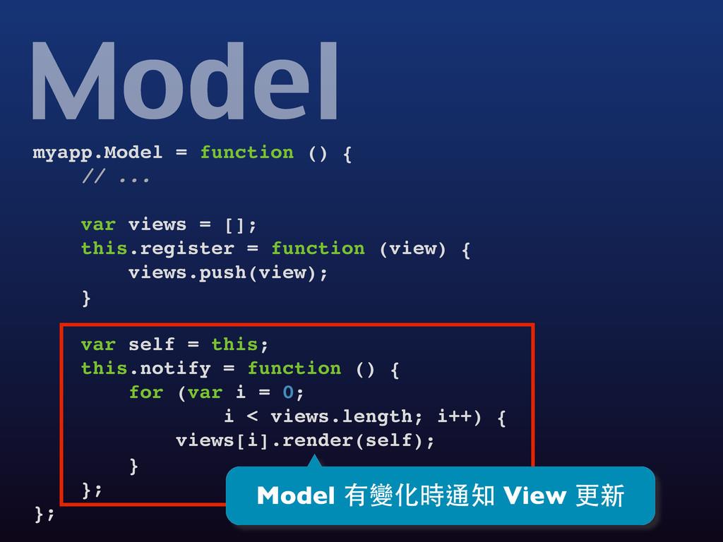 myapp.Model = function () { // ... var views = ...