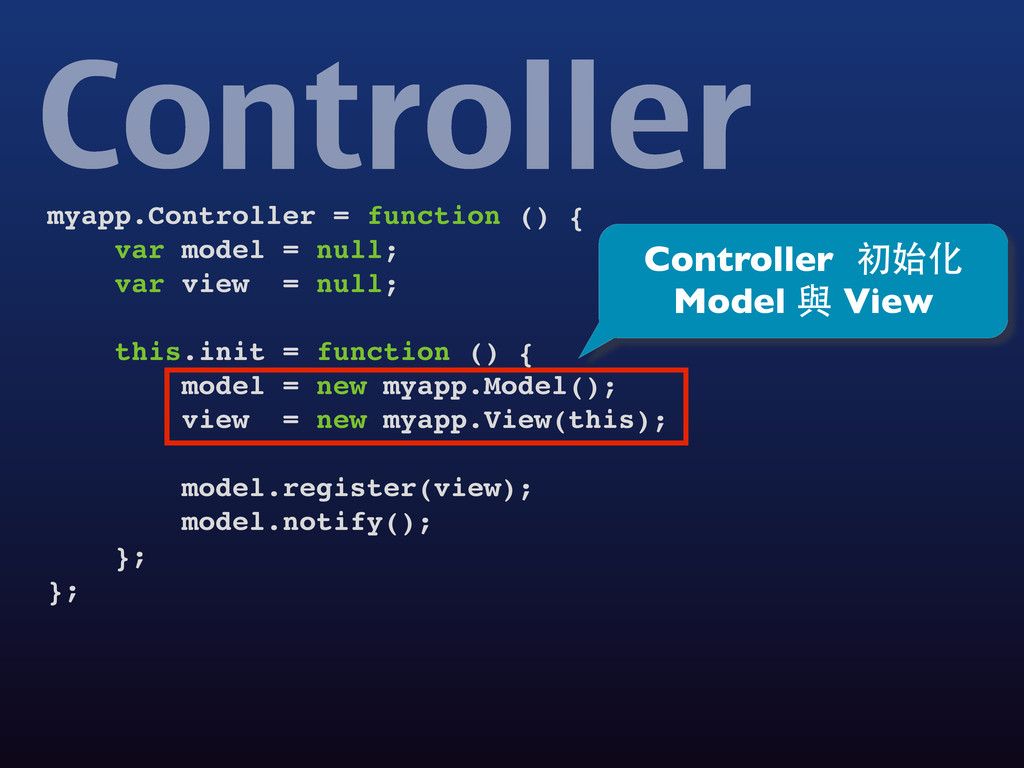 myapp.Controller = function () { var model = nu...