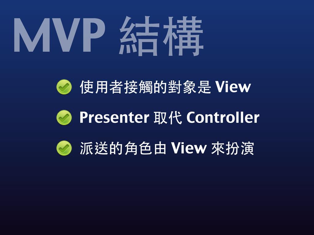 使⽤用者接觸的對象是 View Presenter 取代 Controller 派送的⾓角⾊色...