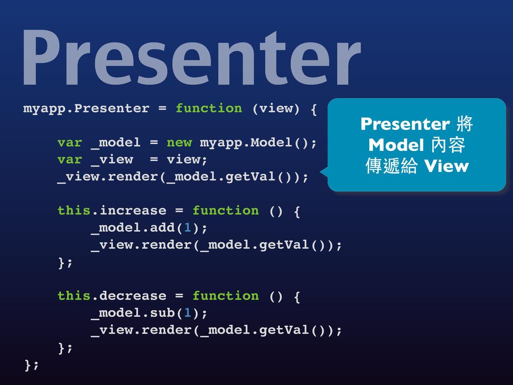 myapp.Presenter = function (view) { var _model ...