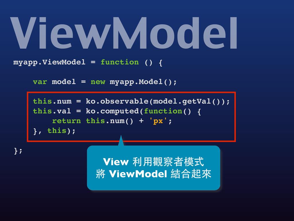 myapp.ViewModel = function () { var model = new...