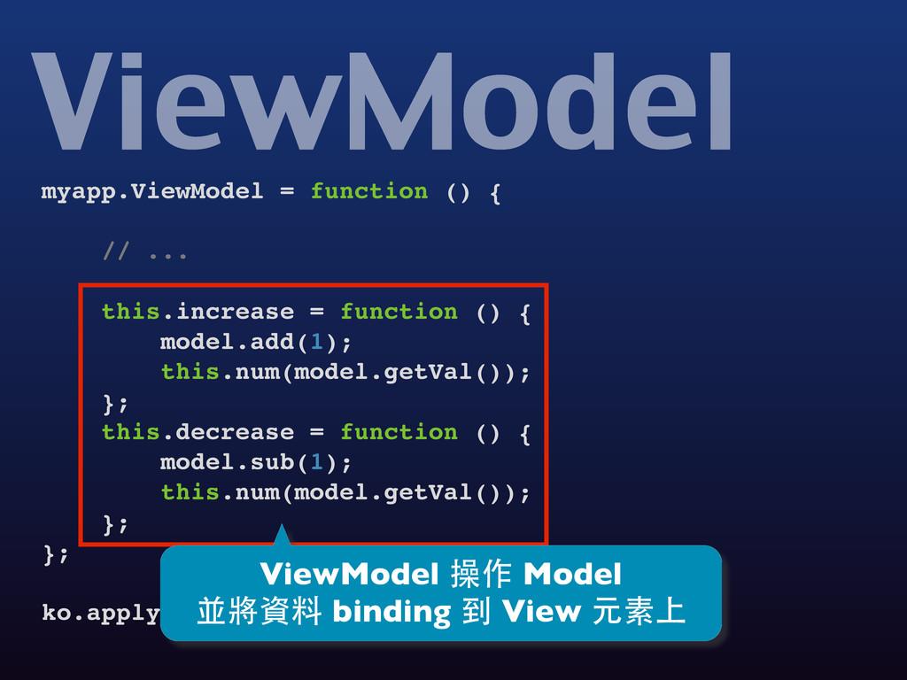 myapp.ViewModel = function () { // ... this.inc...