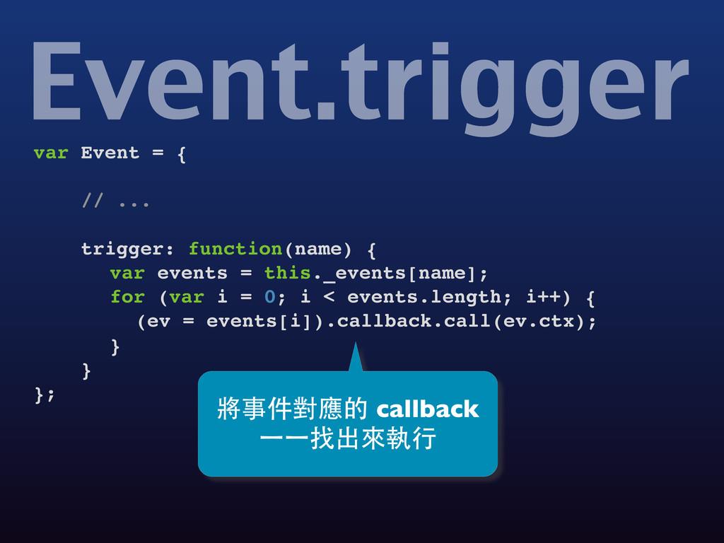 Event.trigger var Event = { // ... trigger: fun...