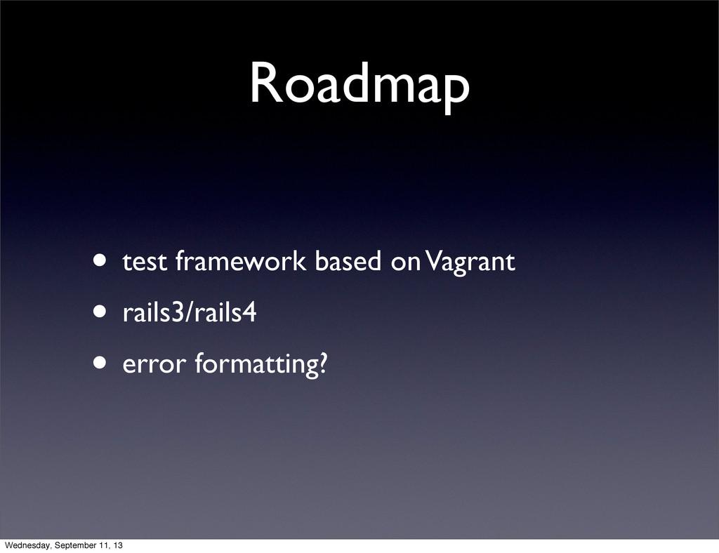 Roadmap • test framework based on Vagrant • rai...