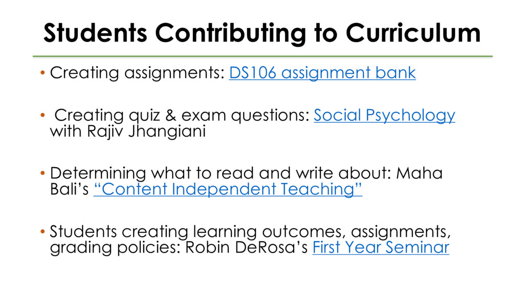 Students Contributing to Curriculum • Creating ...