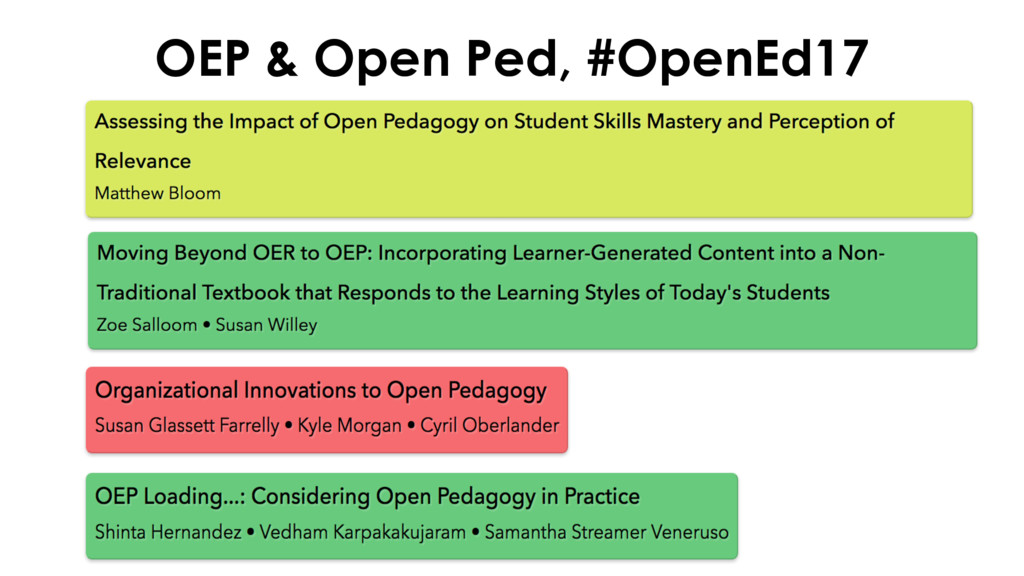 OEP & Open Ped, #OpenEd17