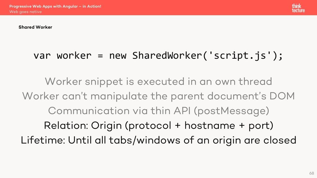 var worker = new SharedWorker('script.js'); Wor...