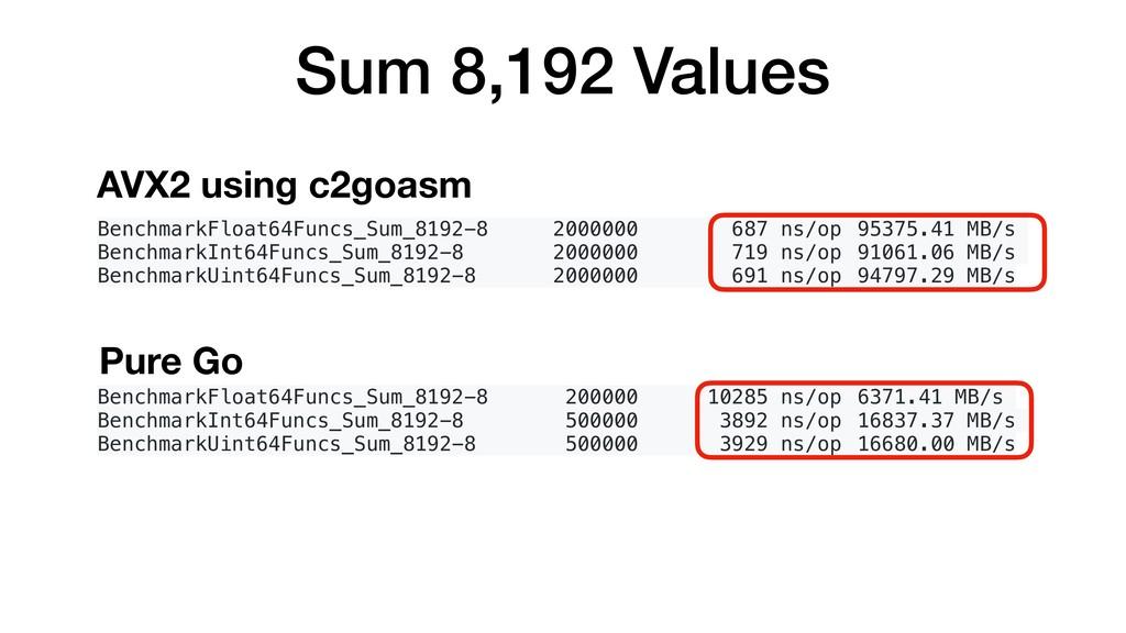 Sum 8,192 Values BenchmarkFloat64Funcs_Sum_8192...