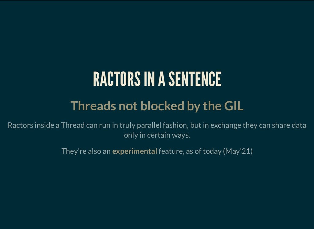 RACTORS IN A SENTENCE Threads not blocked by th...