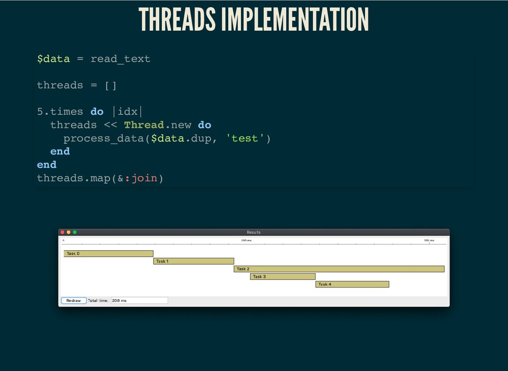 THREADS IMPLEMENTATION $data = read_text thread...