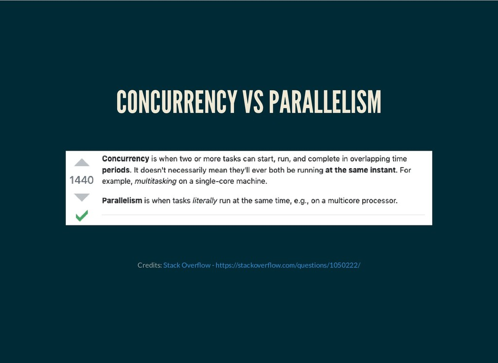 CONCURRENCY VS PARALLELISM Credits: Stack Over ...