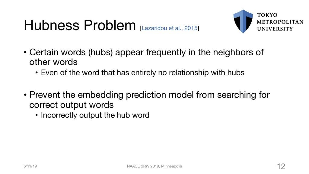 Hubness Problem [Lazaridou et al., 2015] • Cert...
