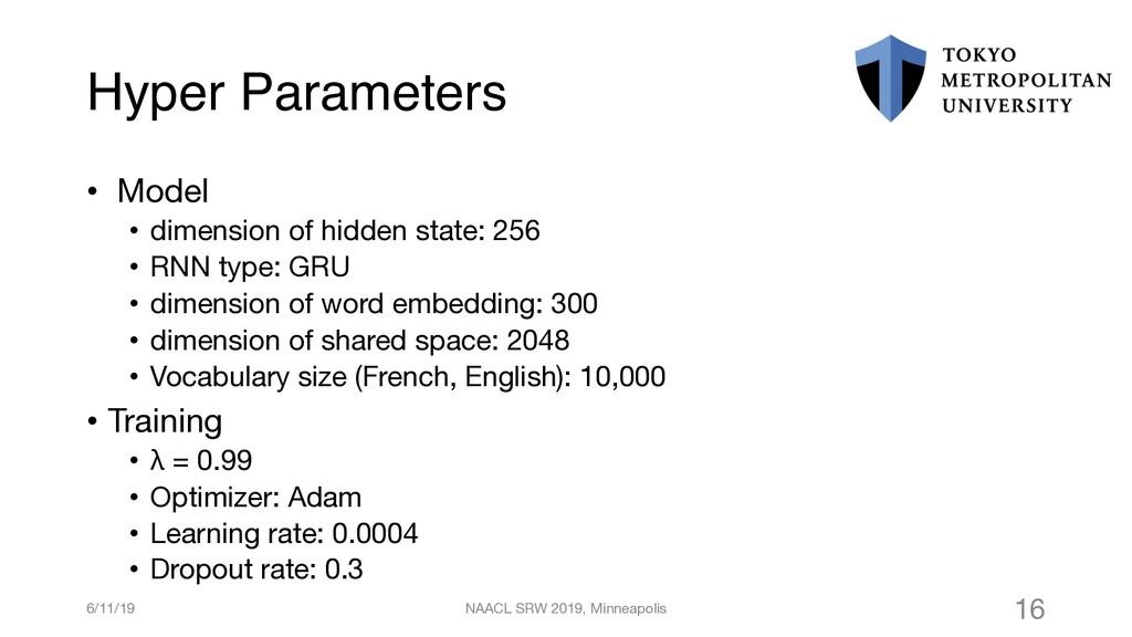 Hyper Parameters • Model • dimension of hidden ...