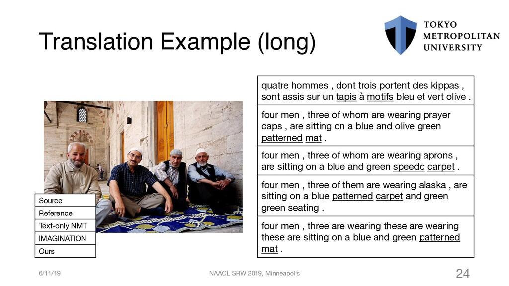Translation Example (long) quatre hommes , dont...