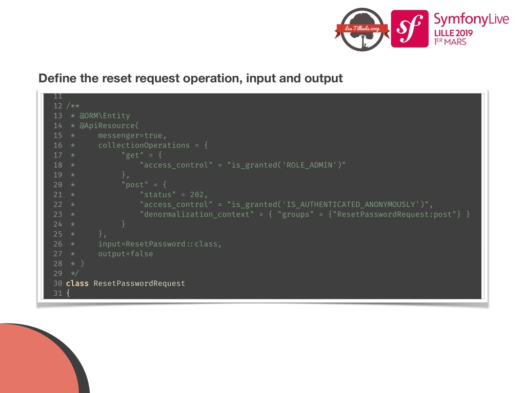 Define the reset request operation, input and ou...