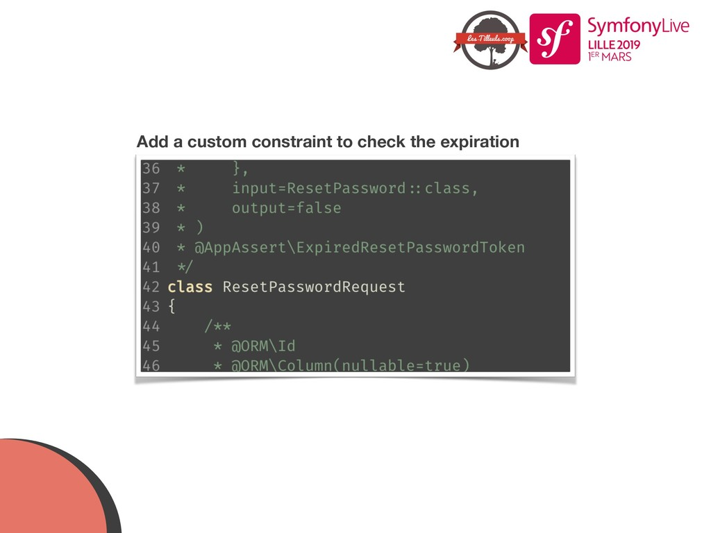 Add a custom constraint to check the expiration