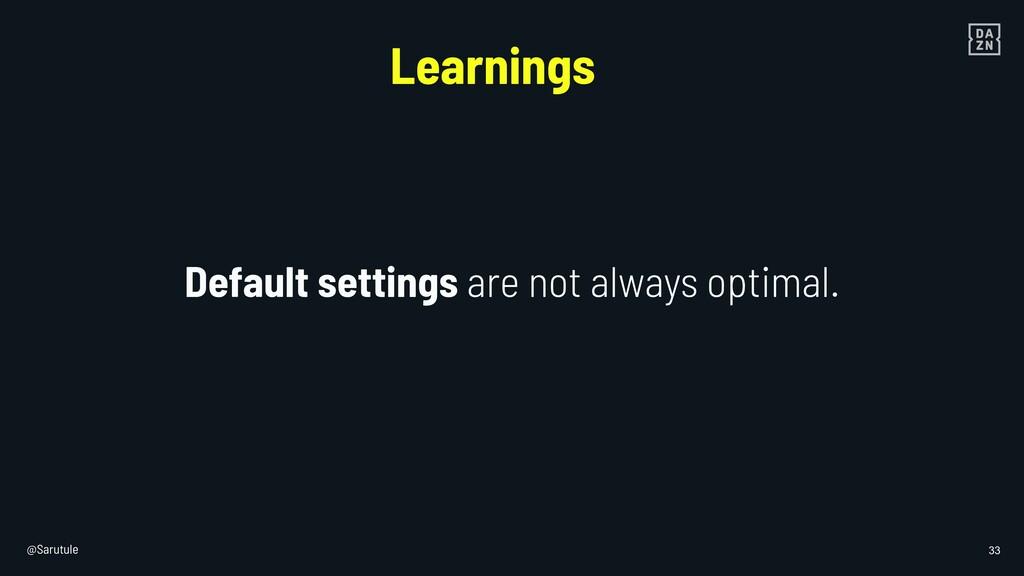@Sarutule 33 Default settings are not always op...