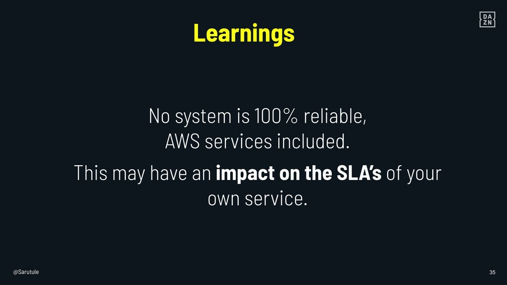 @Sarutule 35 No system is 100% reliable, AWS se...