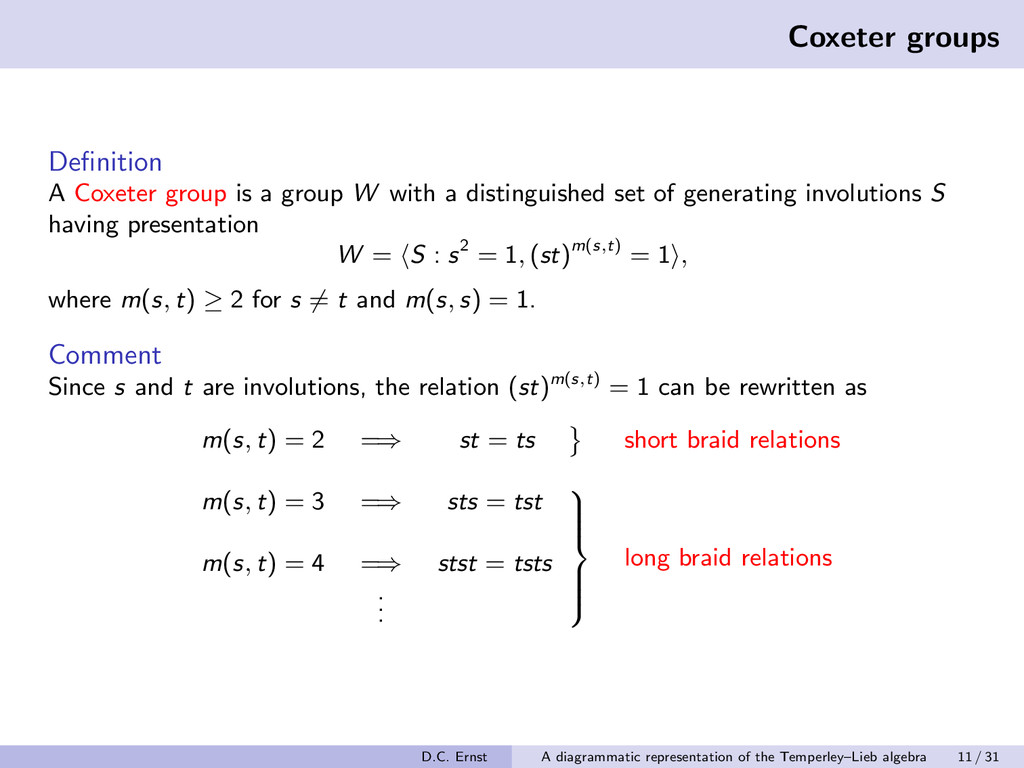 Coxeter groups Definition A Coxeter group is a g...