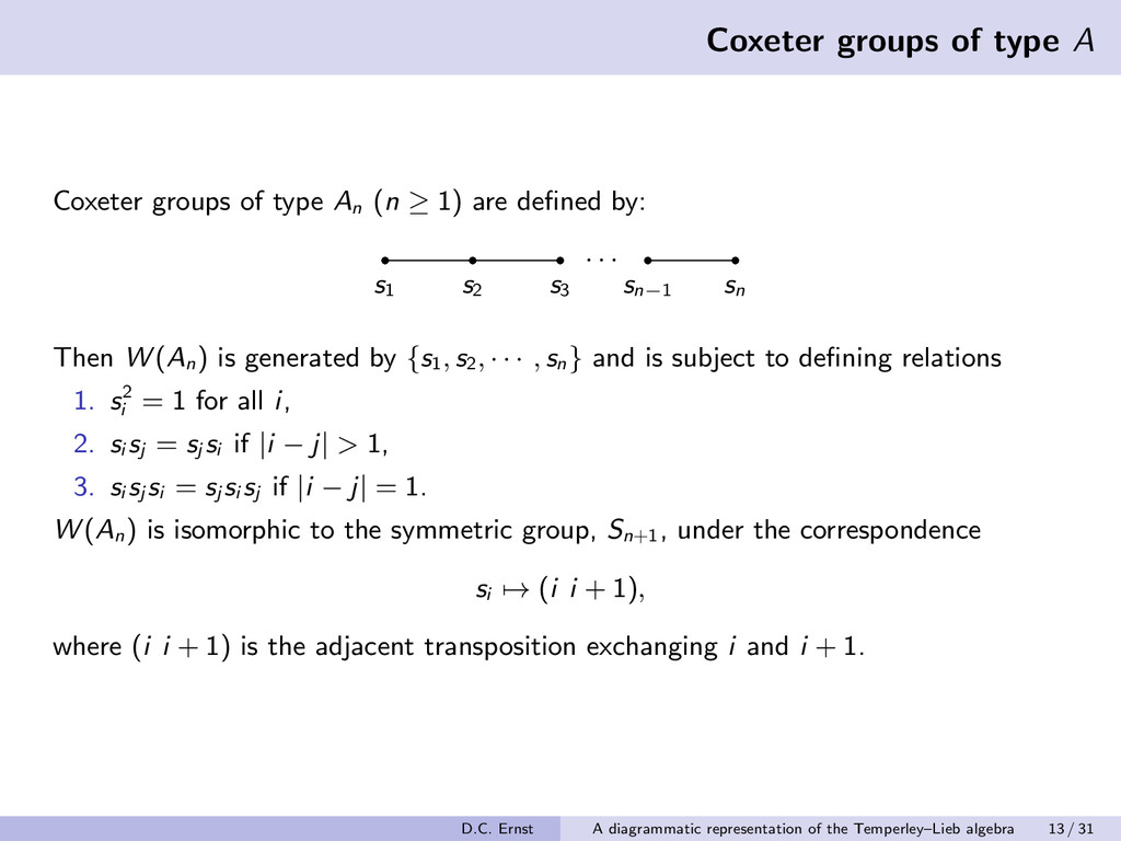 Coxeter groups of type A Coxeter groups of type...