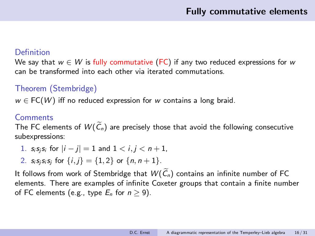 Fully commutative elements Definition We say tha...
