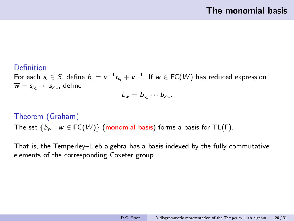 The monomial basis Definition For each si ∈ S, d...