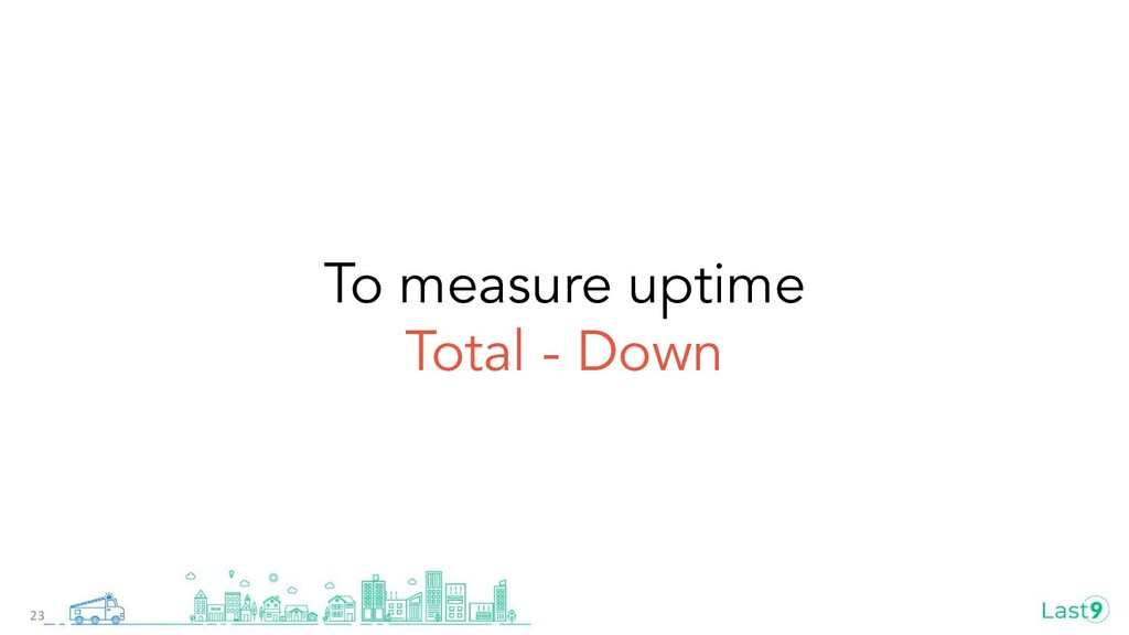 To measure uptime Total - Down 23