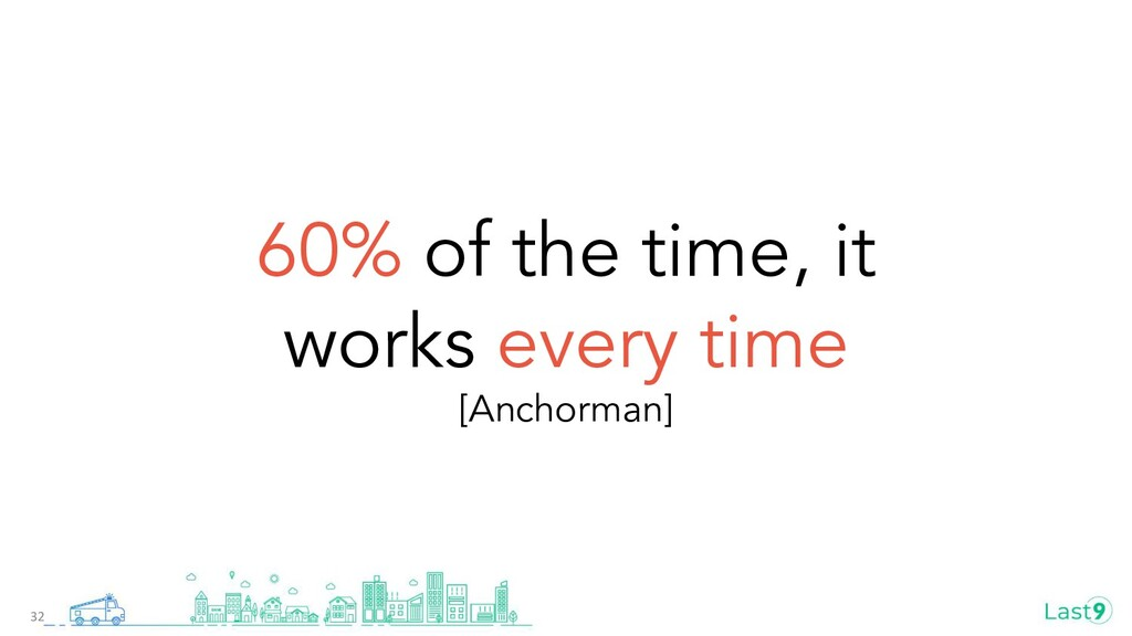60% of the time, it works every time [Anchorman...