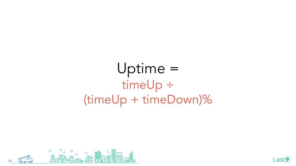 Uptime = timeUp ÷ (timeUp + timeDown)% 38