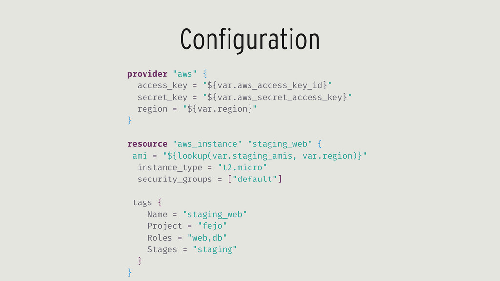 "Configuration provider ""aws"" { access_key = ""${..."