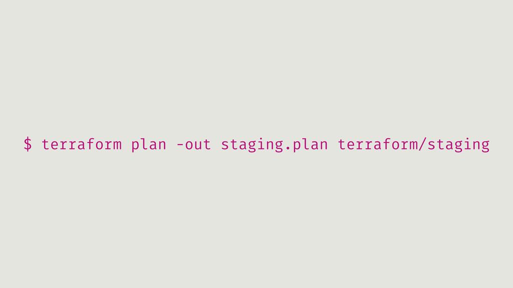 $ terraform plan -out staging.plan terraform/st...