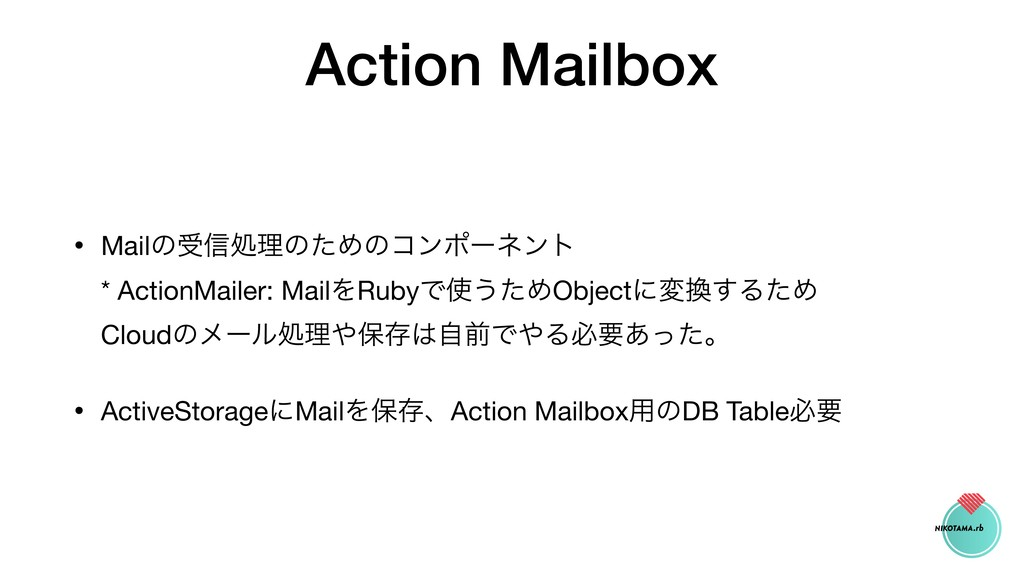 Action Mailbox • Mailͷड৴ॲཧͷͨΊͷίϯϙʔωϯτ * Action...