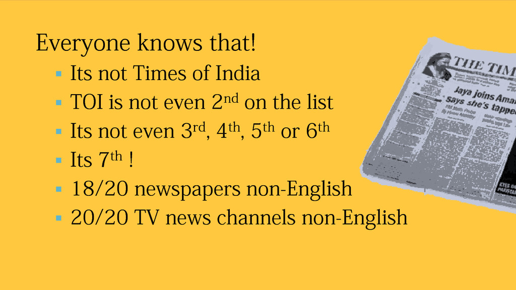 Everyone knows that!  Its not Times of India ...
