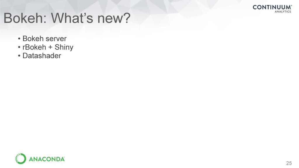 25 Bokeh: What's new? • Bokeh server • rBokeh +...