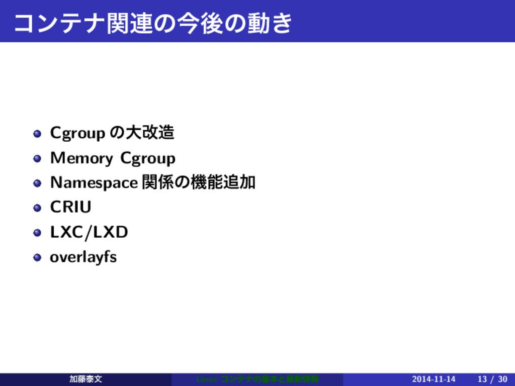 ίϯςφؔ࿈ͷࠓޙͷಈ͖ Cgroup ͷେվ Memory Cgroup Namespac...