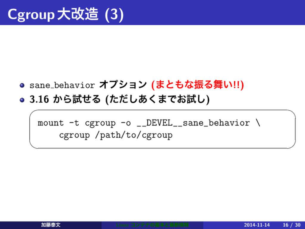 Cgroupେվ (3) sane behavior Φϓγϣϯ (·ͱͳৼΔ͍!!) ...