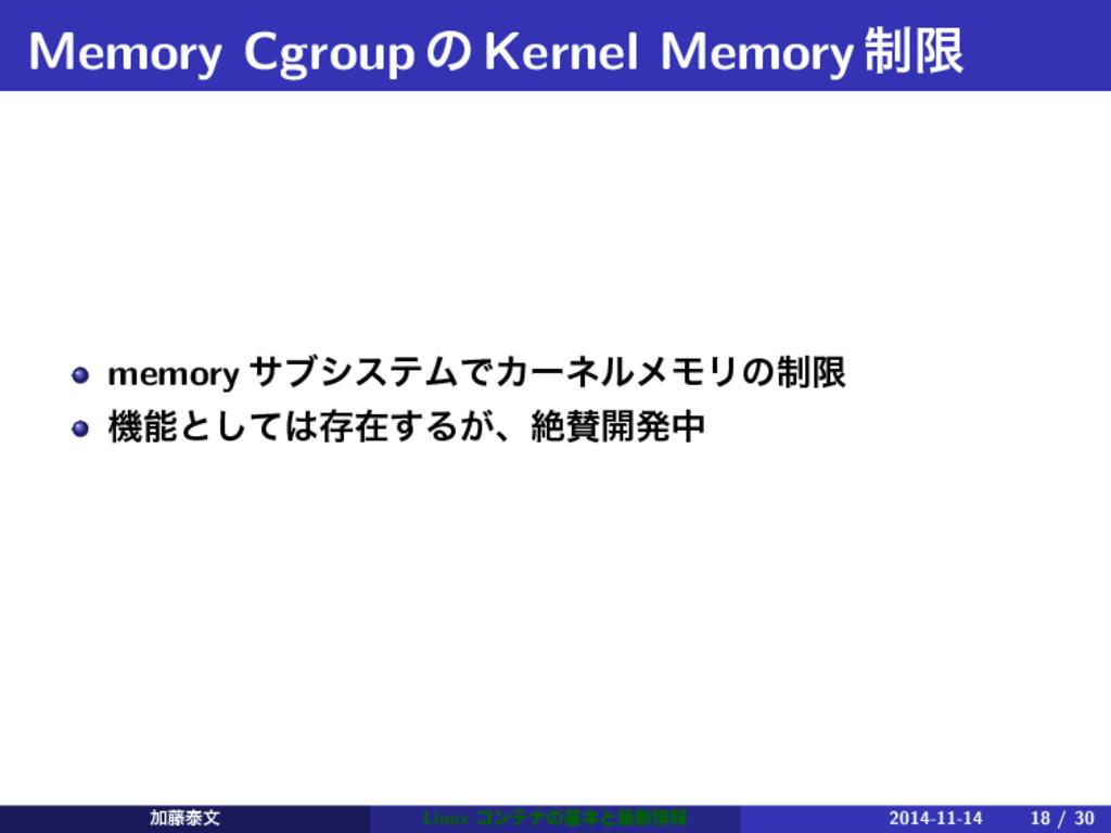 Memory CgroupͷKernel Memory੍ݶ memory αϒγεςϜͰΧʔω...