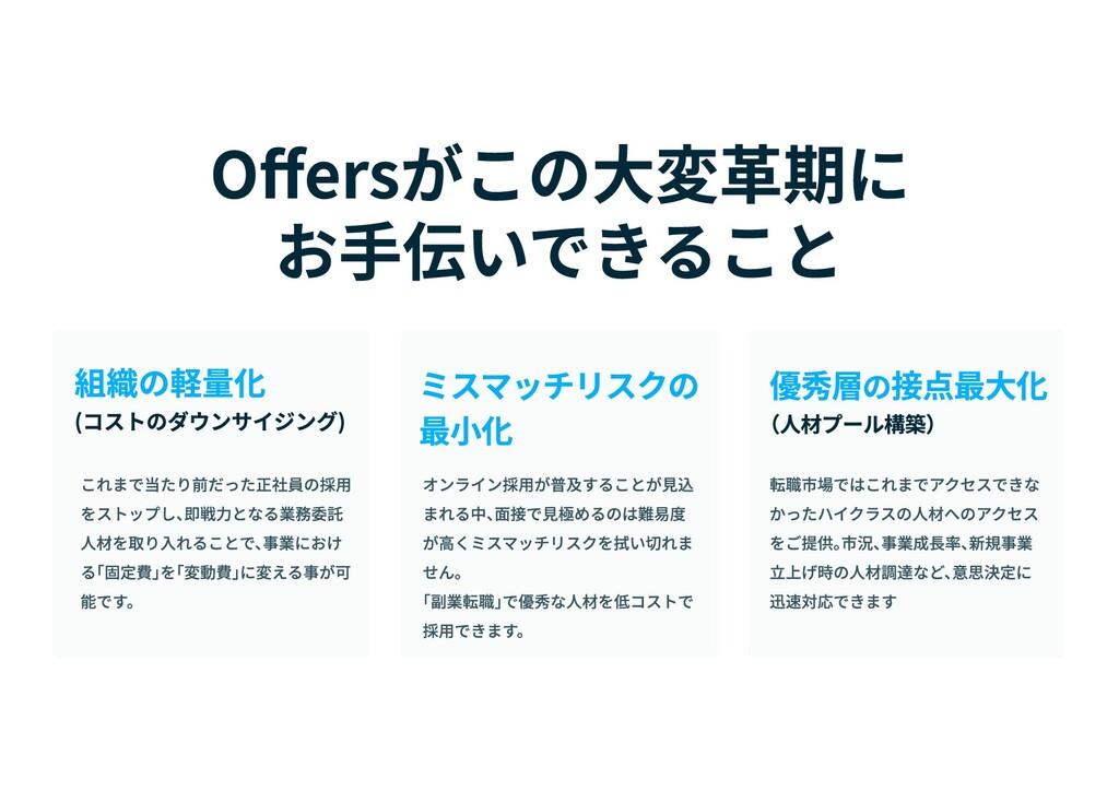 Offersがこの大変革期に  お手伝いできること (コストのダウンサイジング) 組織の軽量化...