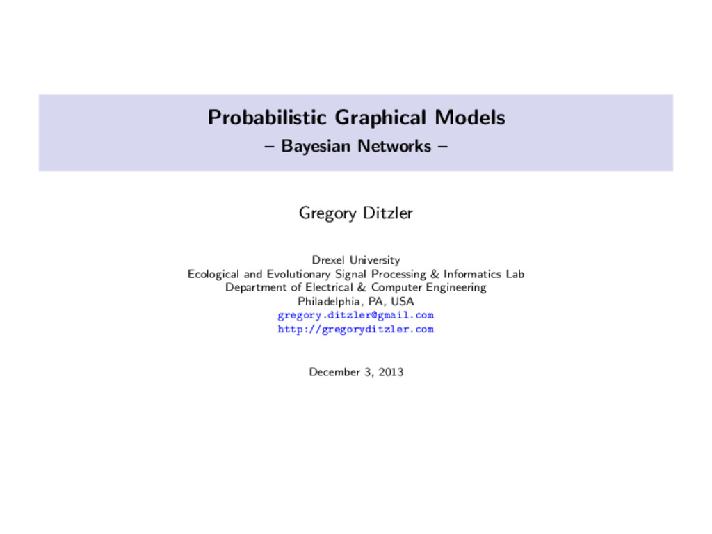 Probabilistic Graphical Models – Bayesian Netwo...